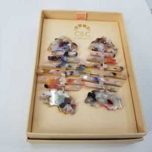 C&C California Multicolor Marble Fish Earrings